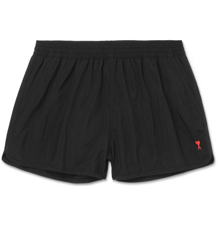 <a href='http://www.mrporter.com/mens/Designers/AMI'>AMI</a>'s latest collection is easily identified by its <i>ami de cœur</i> heart logo - a playful reference to the French term of endearment and the brand's name. These shell swim shorts are embroidered with the emblem, and fitted with a flexible elasticated waistband and comfortable mesh lining. Summer after summer, this black pair is sure never to go out of st...