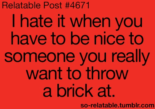Relatable Post #4671 - I hate it when you have to be nice to someone you really want to throe a brick at.