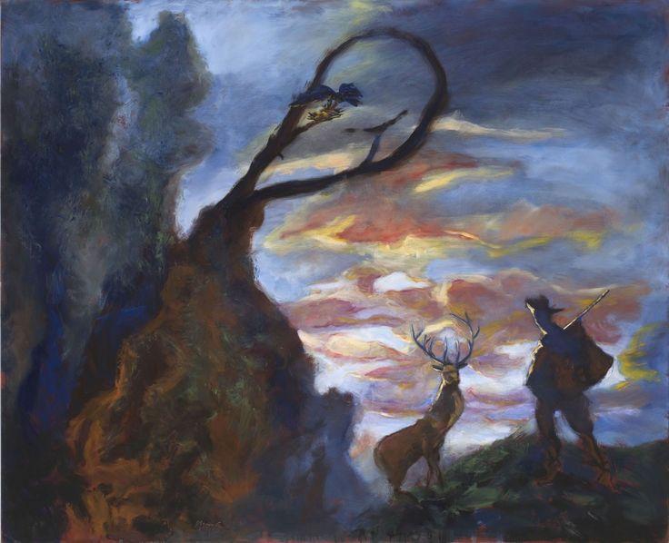 Gérard Garouste : St-Hubert et le nid d'oiseaux, huile sur toile. 2013, 160 X 195 cm. Courtesy Galerie Daniel Templon, Paris & Bruxelles. Ph...