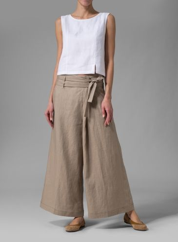 Easy-fitting VIVID Linen wide leg pants. The look is beatiful, the fit is fabulous, the hue is of-the-moment that you can wear season to season and designed to meet your comfy needs in any waistline rise.