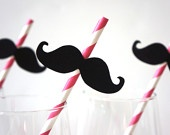 SALE - Photo Booth Props - Mustache Straw Photo Props - Set of 5 - Mustaches on BABY PINK Striped Paper Straws. $5.00, via Etsy.