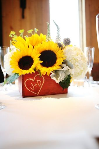 rustic yellow sunflower reception wedding flowers,  wedding decor, wedding flower centerpiece, wedding flower arrangement, add pic source on comment and we will update it. www.myfloweraffair.com can create this beautiful wedding flower look.