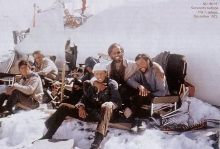 Actual photo of survivors of the Andes plane crash in 1972. Note the human spinal column picked clean in the lower right...I READ THIS BOOK WHEN I WAS 12 AND IT AFFECTED ME DEEPLY AND SHAPED MY PERSONALITY IN A WAY.   TO ME, IT IS THE GREATEST STORY EVER TOLD ABOUT HUMANITY.