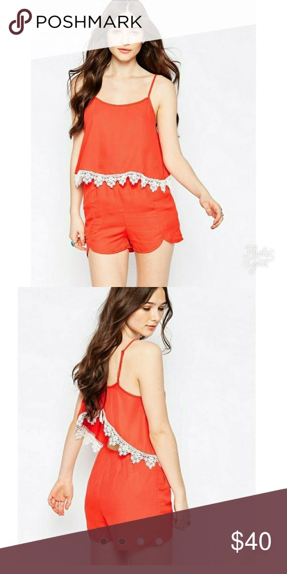 Girls on Film Orange Open Back Lace Detail Romper Girls on Film Womens size 6 Open Back Adjustable straps Girls on Film Pants Jumpsuits & Rompers