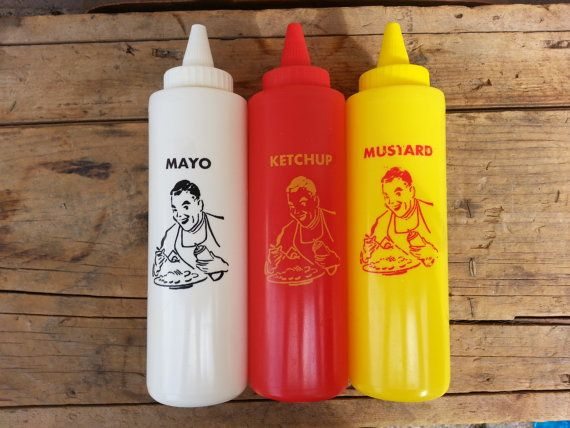 Ketchup, Mustard and Mayo Plastic Squeeze Bottles, Vintage Diner Style, Picnic, Camping, Supplies, Retro Gift for Dad, Fathers Day