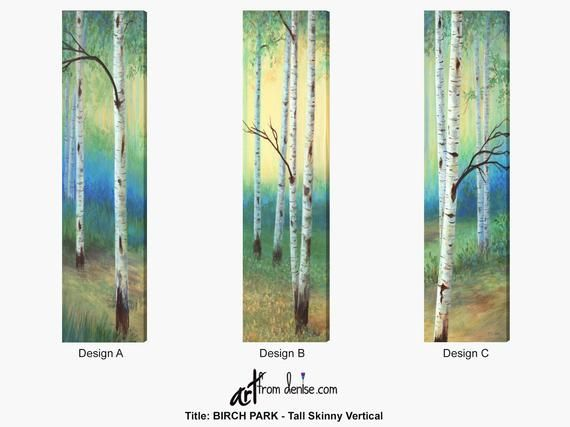 Tall And Narrow Vertical Wall Art Canvas Print Of Long Birch Etsy Vertical Wall Art Tall Wall Art Birch Tree Painting