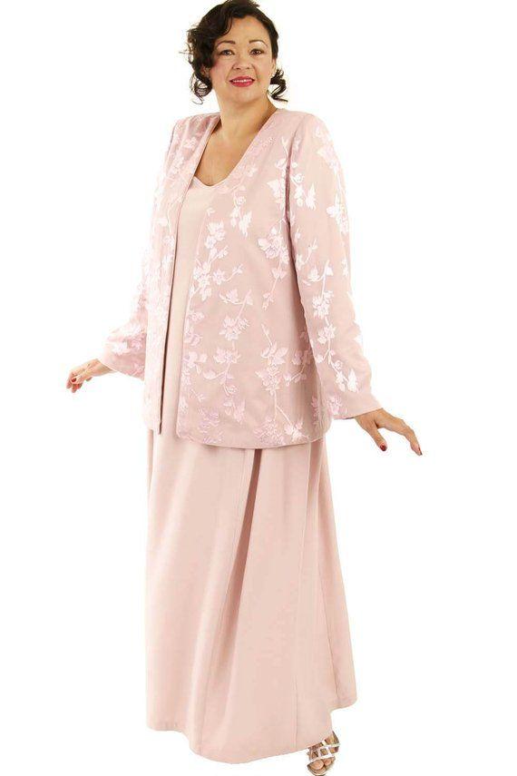 Custom Made Mother Bride Jacket Dress 2 Piece Pink Silk
