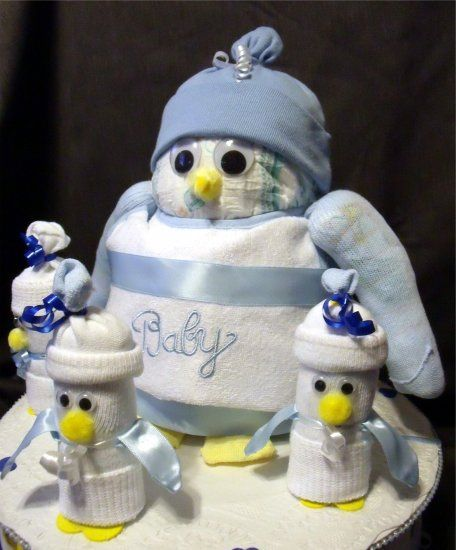 PENGUIN BLUE Baby Shower Gift Boy Diaper Cake Decorations