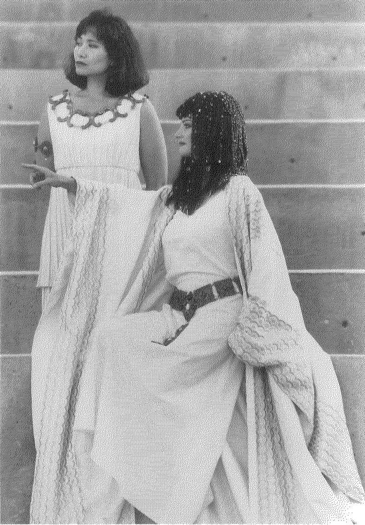 Miki Kim (left) as the servant of Charmin & Lura Dolas as Cleopatra in ANTONY AND CLEAOPATRA, 1991. #calshakes40th