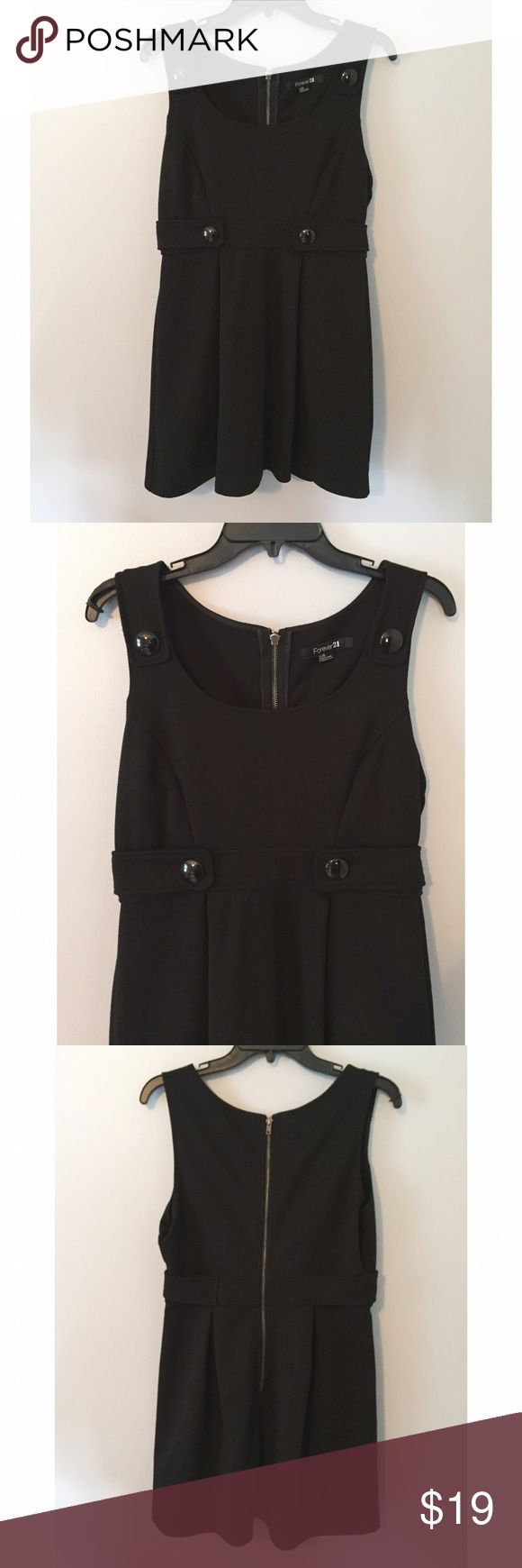 Forever 21 Black Jumper Dress Gently worn. Very cute with a long sleeve white shirt! Forever 21 Dresses Mini