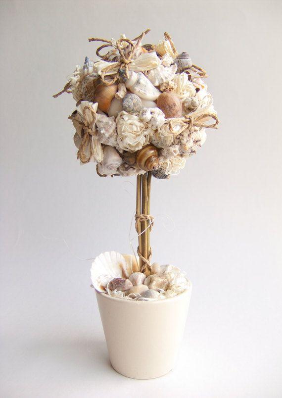 Topiary Tree Home Decor White Seashells by felttess on Etsy
