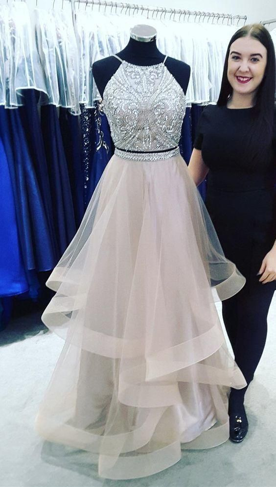 Simple Prom Dress, sparkle two piece long Prom Dress with Beading Sequins 2