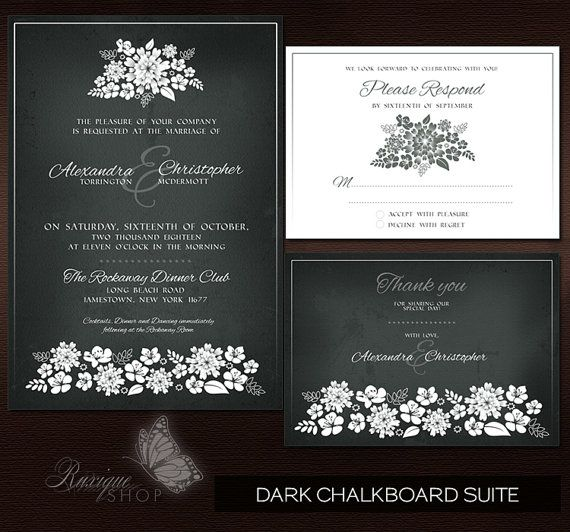 #Floral #Shadows #Vintage Wedding Suite #PRINTABLE #DIY #Wedding #Invitation, RSVP, Thank You Card - Dark #Chalkboard, Light #Vintage, Ivory Vintage by Ruxique