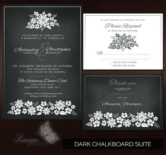 #Floral #Shadows #Vintage Wedding Suite #PRINTABLE #DIY #Wedding #Invitation, RSVP, Thank You Card - Dark #Chalkboard, Light #Vintage, Ivory Vintage by Ruxique