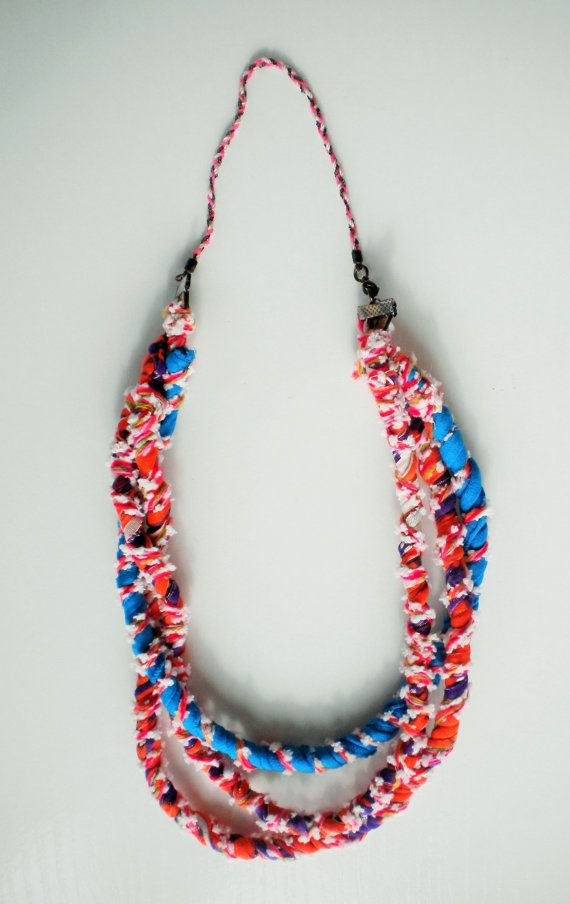 FREE SHIPPING original colorful spring necklace textile multicolor bold  spring necklace unique gift for her
