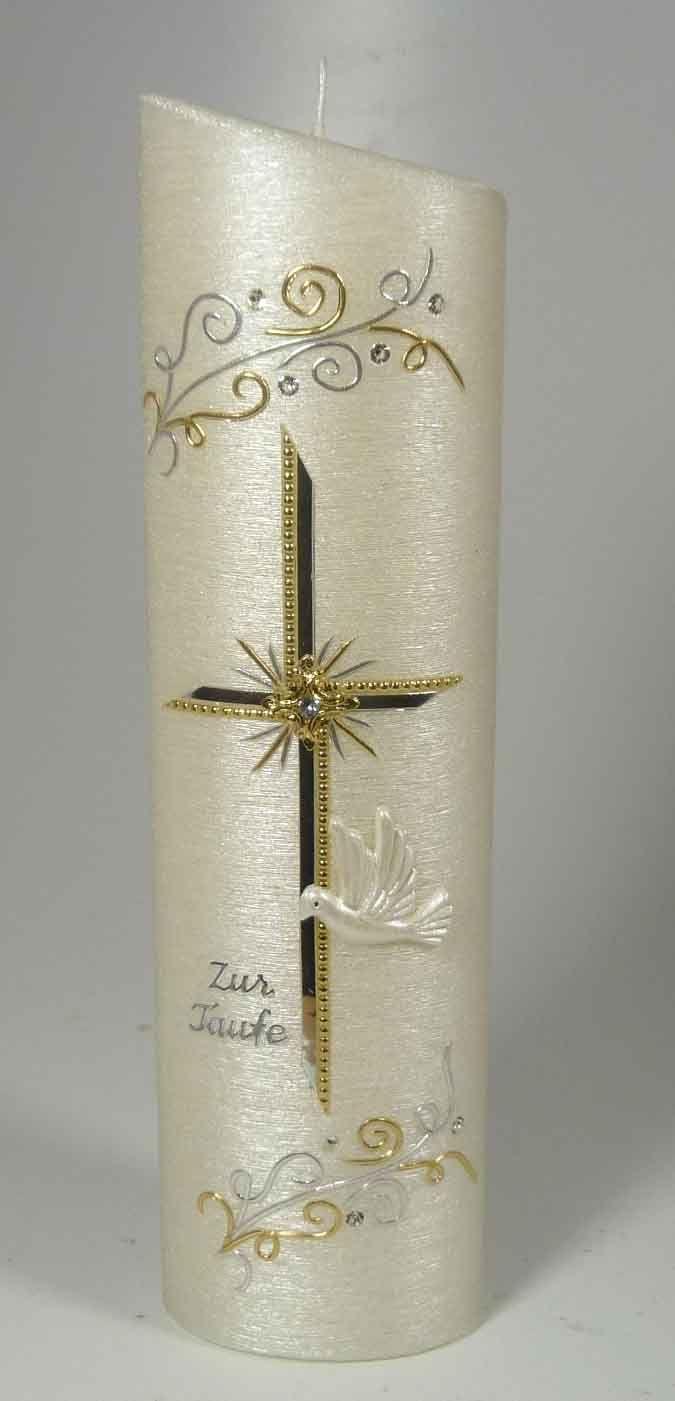 Taufkerze Modern Gold-Silber 1092