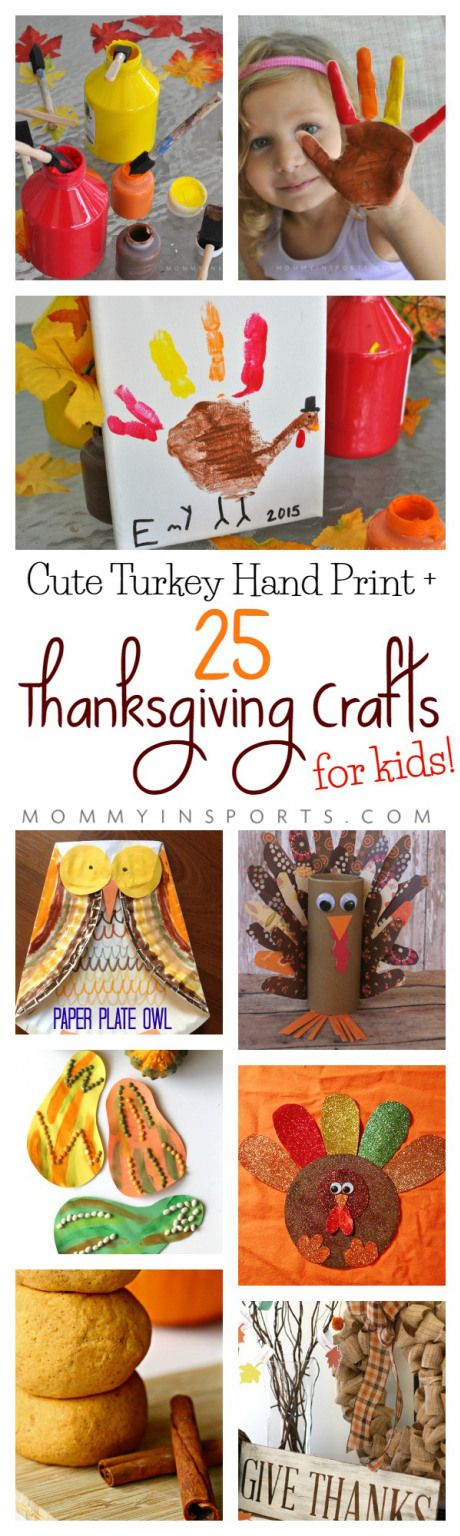 Looking for a cute way to celebrate Thanksgiving? Check out this great list of 25 Thanksgiving Crafts for Kids! Plus an adorable bonus Turkey Hand Print Craft from mommy in SPORTS!