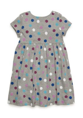 J. Khaki Girls' Polka Dot Dress Toddler Girls - Warm Gray - 3T
