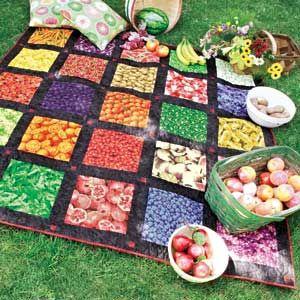 Fruits & Veggies: Precut Novelty Print Picnic Quilt Pattern