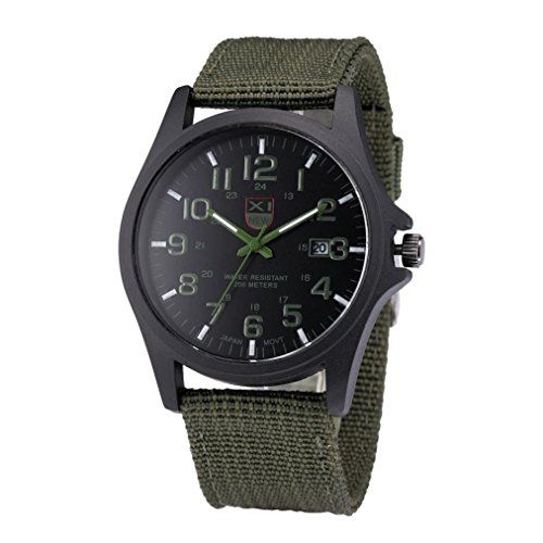 Sannysis Mens Date Stainless Stel Outdoor Military Sports Army Wrist Watch Green ** You can get more details by clicking on the image.