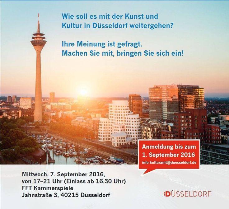 Der Kulturentwicklungsplan geht in die nächste Runde. Jetzt seid IHR dazu aufgerufen eure Meinung einzubringen. Lasst es euch nicht entgehen die kulturelle Zukunft Düsseldorfs mitzugestalten. Möglich ist das am 7.9.2016 von 17-21 Uhr. Der Eintritt ist frei um Anmeldung wird jedoch bis zum 1.9.2016 gebeten unter info-kulturamt@duesseldorf.de.  #Düsseldorf #Kulturentwicklung #Kunst #Kultur #Kulturamt #weloveart #artinduesseldorf #mitentscheiden
