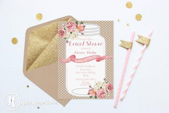 Printable Wedding Bridal Shower Invite, Floral Wedding, All the Pretty Peonies, Vintage Rustic, DIY Printable Invitations Bridal Shower