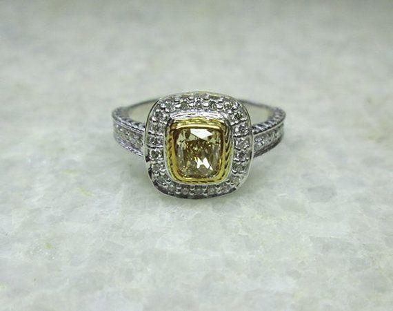 Champagne Diamond Ring Diamond Ring Cushion by yunijewels on Etsy