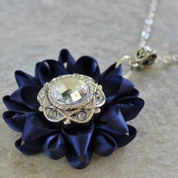Navy Blue Necklace - Navy Blue Jewelry by PetalPerceptions
