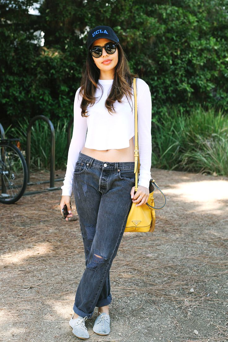 The Best College Street Style Snaps From UCLA & USC #refinery29  http://www.refinery29.com/usc-ucla-college-campus-street-style#slide10  Name: Dr. Deepika Chopra Campus: UCLA What She's Wearing:  vintage Levi's jeans, Robert Rodriguez top, vintage shoes, Prada bag.