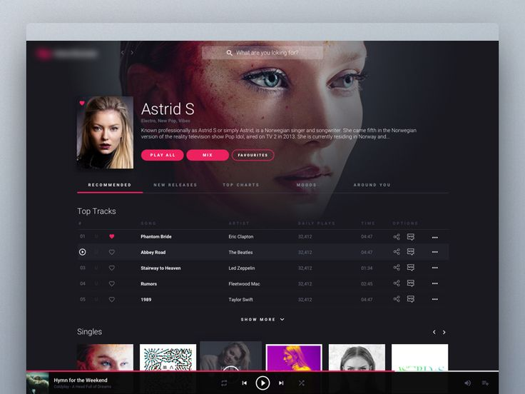 Online Music Streaming Service - Artist Page