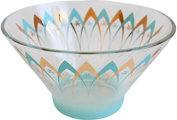 Turquoise & Gold Midcentury Bowl - a dear friend gave us this bowl a few years ago.  We adore it!