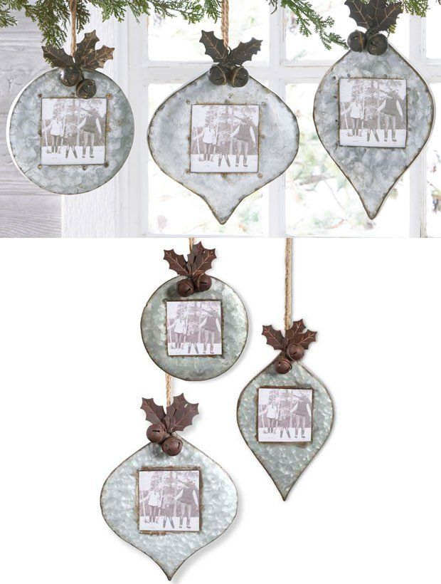 Rustic Tin Picture Frame Ornaments Set Of 3 Picture Frame Ornaments Ornament Frame Rustic Tin