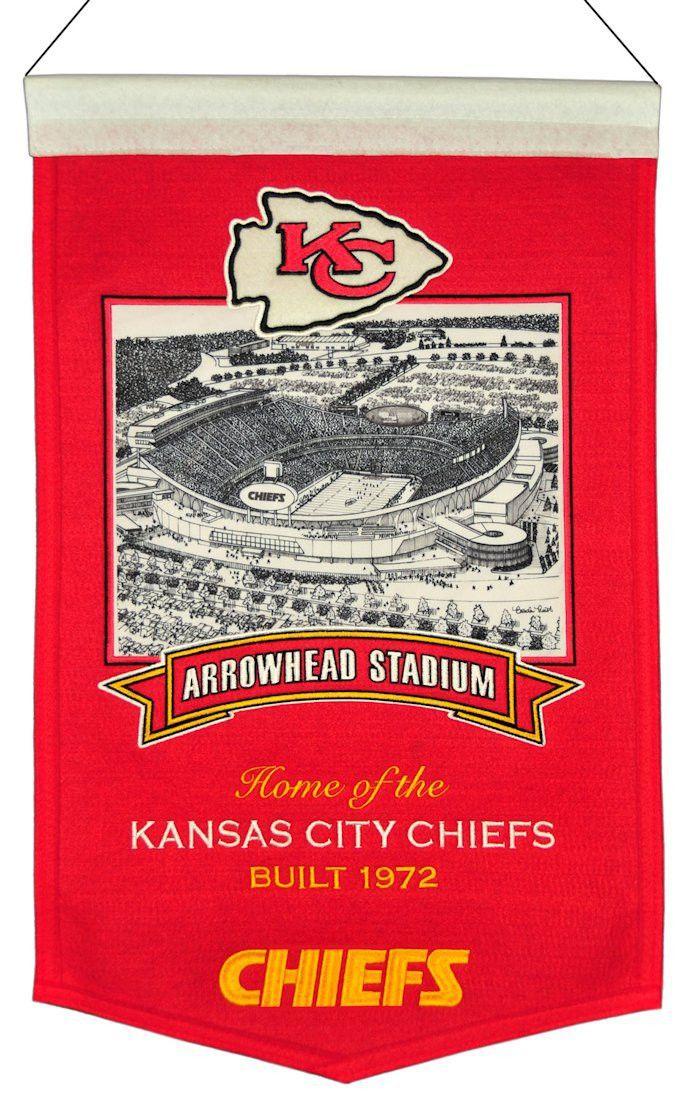 "Kansas City Chiefs 20""x15"" Wool Stadium Banner Arrowhead"