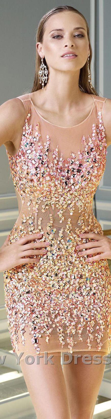 Alyce Paris ~ Bejeweled Nude Cocktail Dress