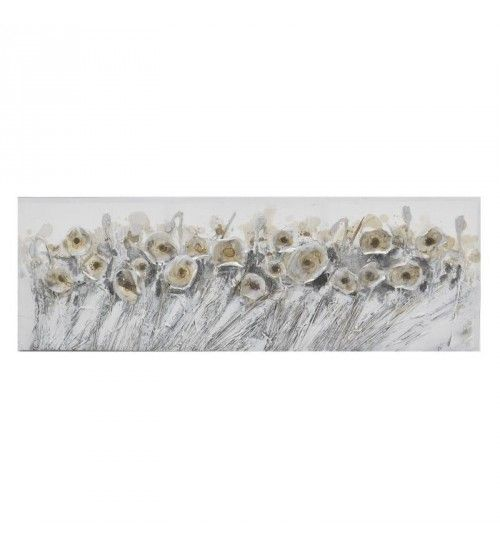 OIL WALL PAINTING CANVAS 'FLOWERS' IN GREY_GOLDEN COLOR 150Χ3Χ50