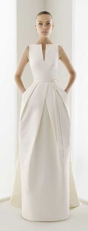 Structured wedding gown...not for me with all my round bits but for someone angular this would be incredible!