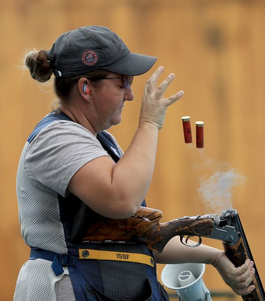 #RIO2016 Kim Rhode of the United States shoots in a training session prior to the start of the Rio 2016 Olympic Games at the Olympic Shooting Centre on August...