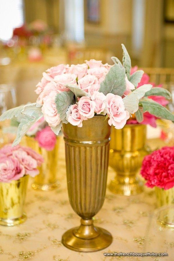 Light Pink Spray Roses in Medium Bronze Vase - Chris Humphrey Photographer - The French Bouquet