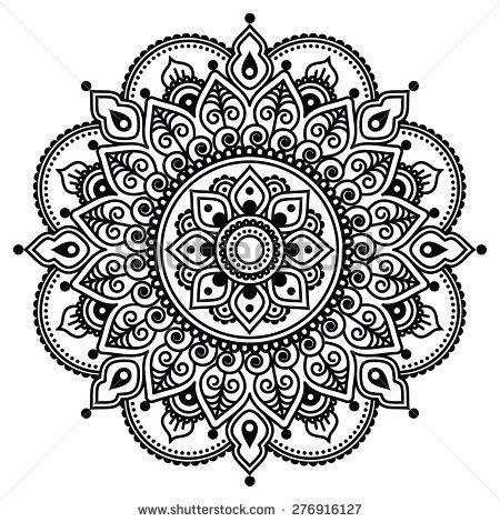 Mehndi, Indian Henna tattoo pattern or background - stock vector