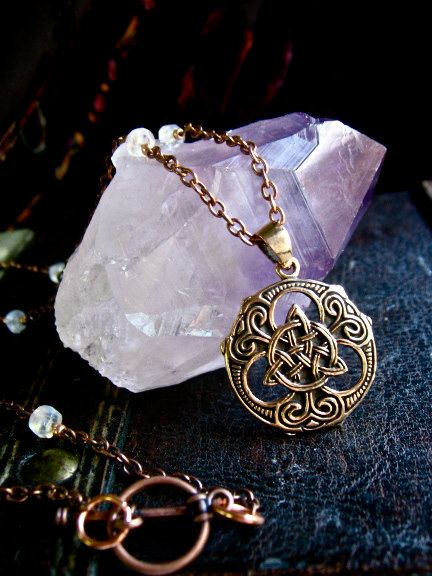 RESERVED- Celtic Triquetra Shield Necklace. $20.00, via Etsy.