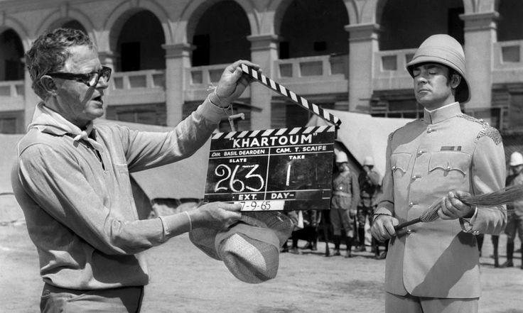Richard Johnson with director Basil Dearden on the set of 1966 film Khartoum.