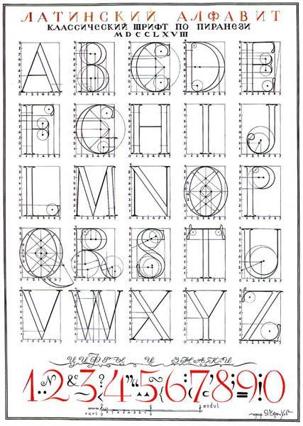 [A constructed alphabet by Ukrainian architect/artist Iakov Chernikhov, ca. 1950]