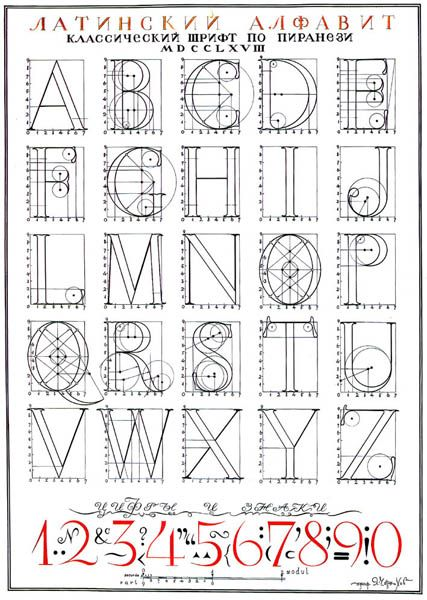 [A constructed alphabet by Ukrainian architect/artist Iakov Chernikhov, ca. 1950]