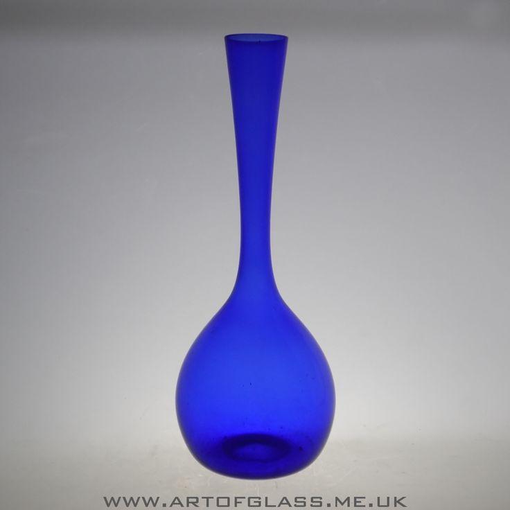 Swedish cobalt blue glass bottle vase