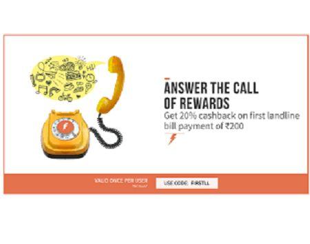 Get 20% Cashback on First Landline Bill of Rs.200 (Only for New User) ₹ 200 for ₹ 160