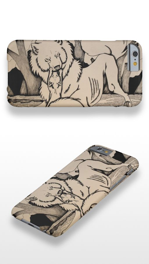 """Play Date"" Black and white illustrated wolf and fox iPhone 6 Case"