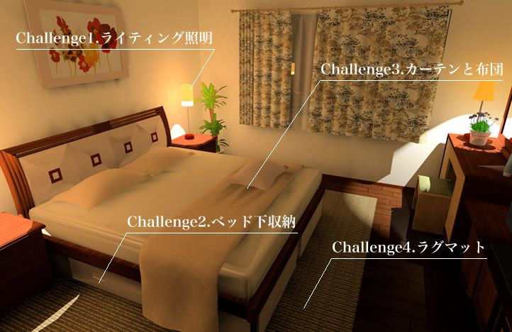 寝室の風水間取りチャレンジ項目イメージ画像