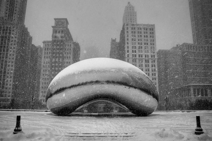 """Gorgeous photo of """"the bean"""" in the midst of this week's blizzard."""