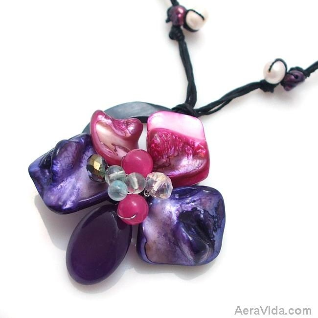 Looking for your next Gift?  Try this New Floral Moon Dyed Purple Mother of Pearl Necklace: Gift