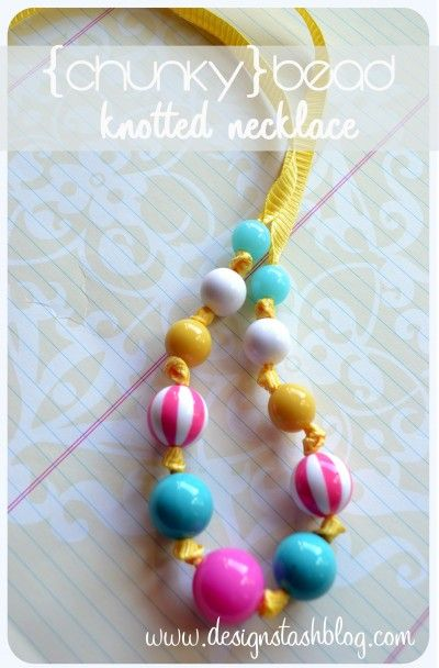 Chunky Bead Knotted Necklace. I love this idea for craft time with my grand baby.